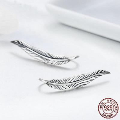Sterling silver feather drop earrings