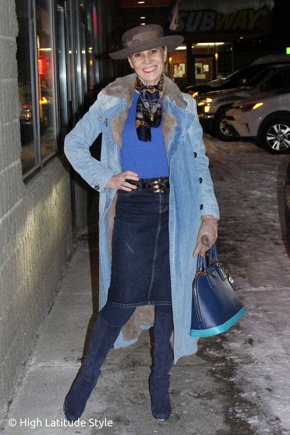fashion book author in denim duster and skirt