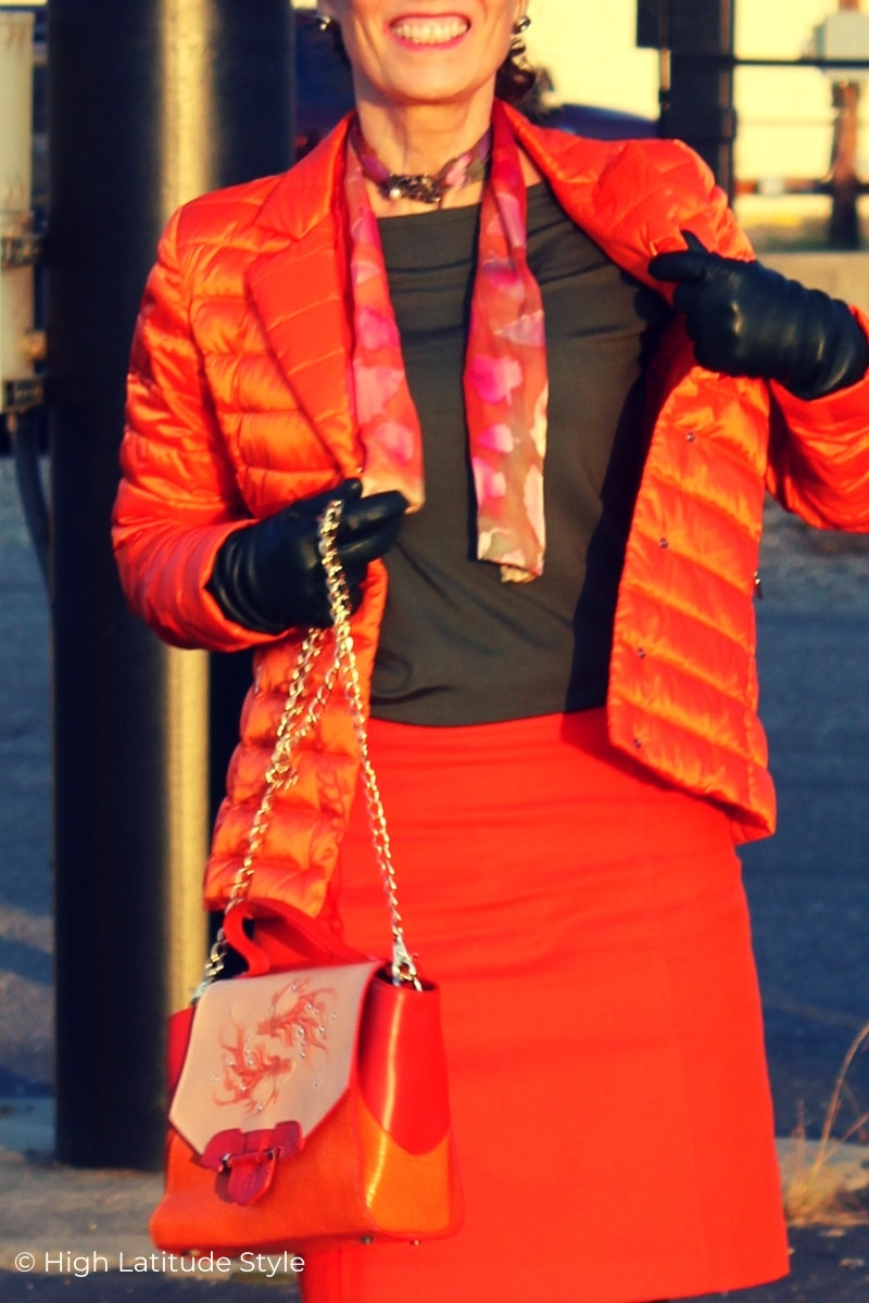 fashionable accessories scarf, gloves, brooch, designer handbag