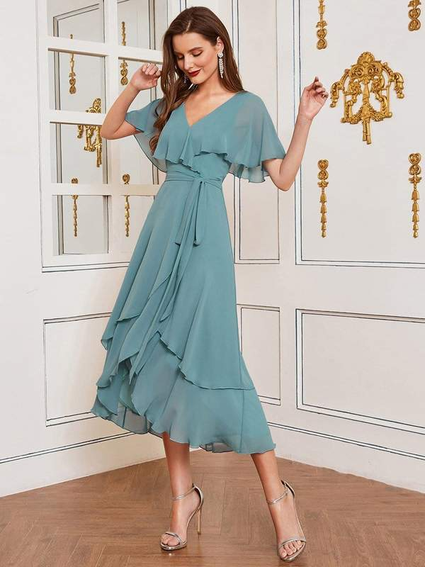 Cute Caped Bodice Asymmetrical chiffon dusty blue guest outfit