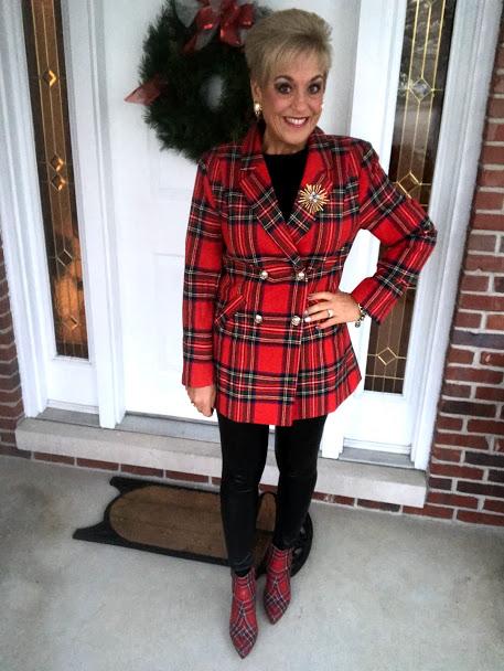 Julie Augustyn in a red plaid blazer