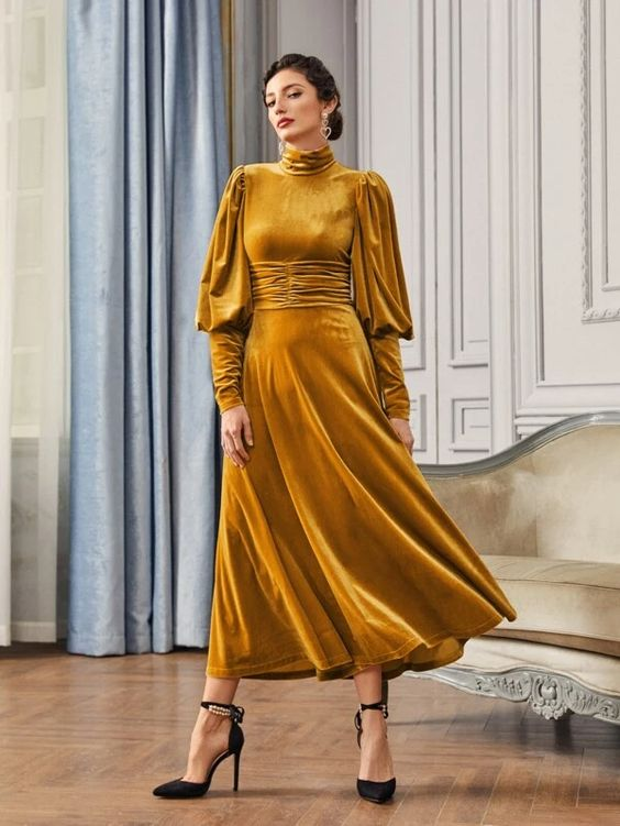 Gigot Sleeve Ruched Waist Velvet Dress