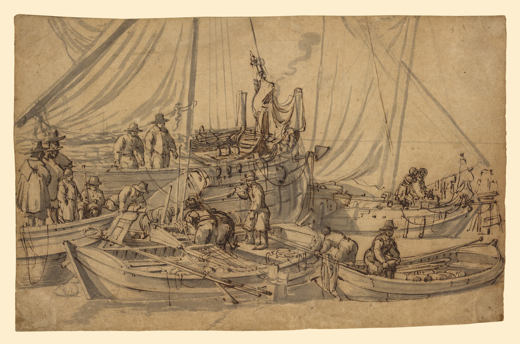 Willem van de Velde the Elder (Dutch, 1611 - 1693), Figures on Board Small Merchant Vessels