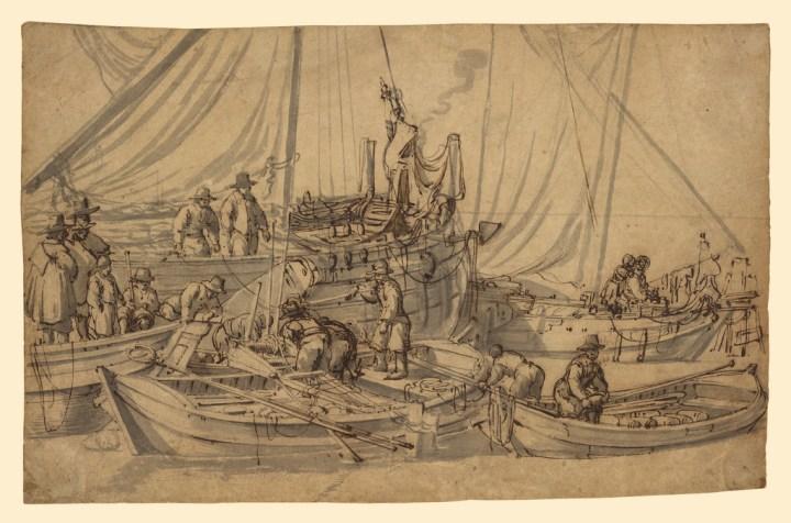 Willem van de Velde the Elder (Dutch, 1611 - 1693), Figures on Board Small Merchant Vessels
