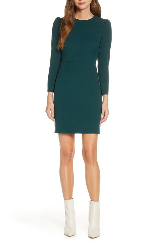 teal tigh length party dress with long sleeves
