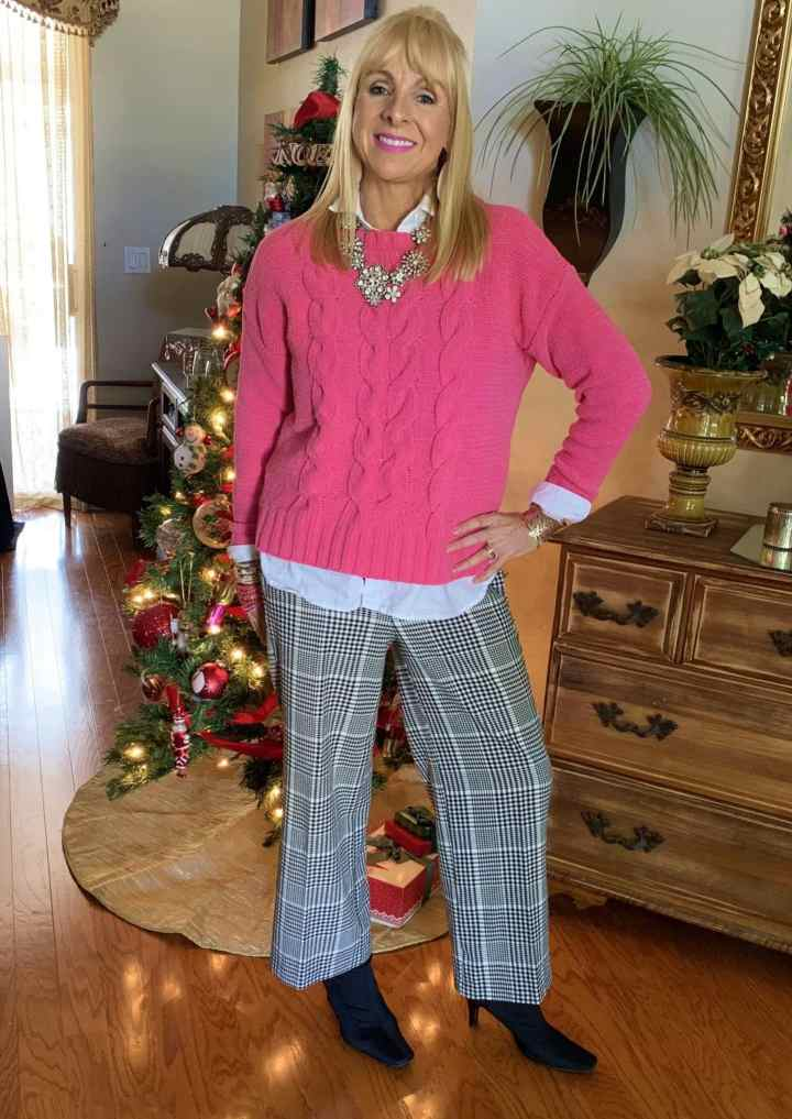 Top of the World OOTD My Fav Kellyann of This Blonde's Shopping Bag in pink sweater, plaid trousers, white button-down, statement necklace and booties