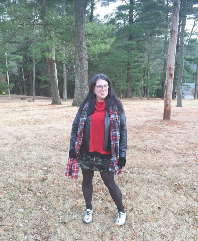 Top of the World OOTD My Fav Shelbee in camouflage skirt, plaid scarf, red sweater, leather jacket and silver loafers