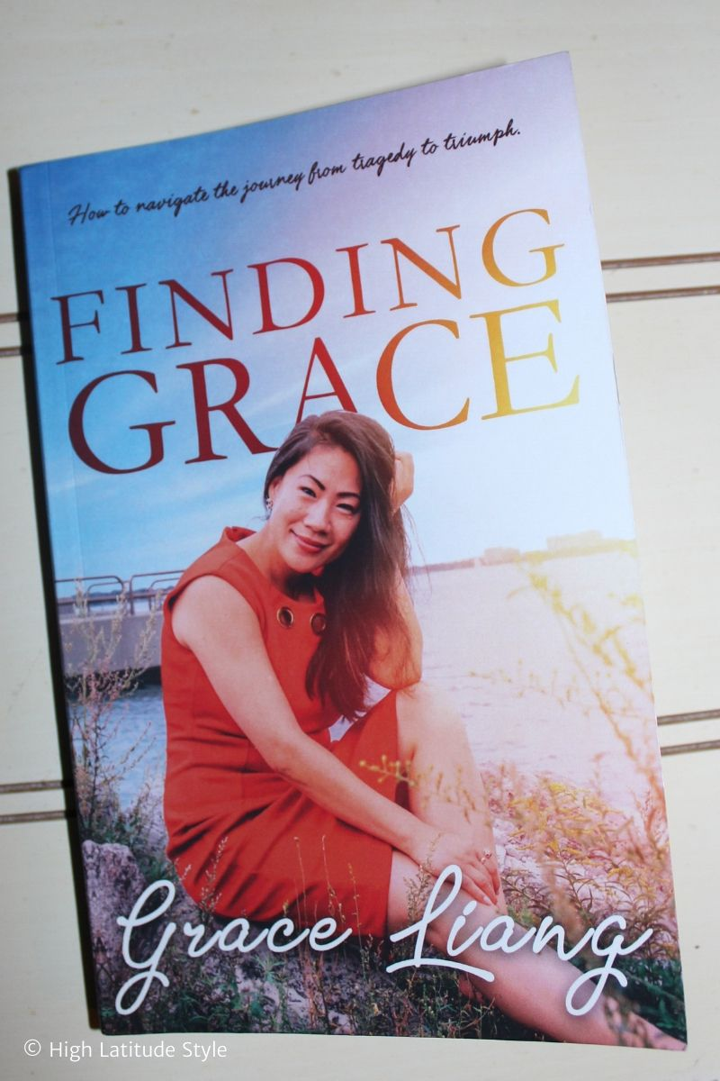 Photo of the front cover showing the author of Finding Grace