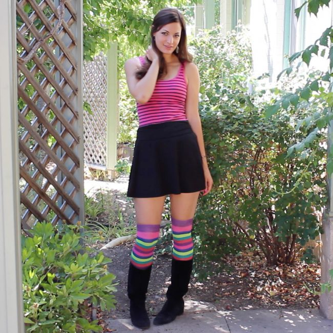 Clare thigh-high socks outfit idea with mini skirt, tank top and velvet boots