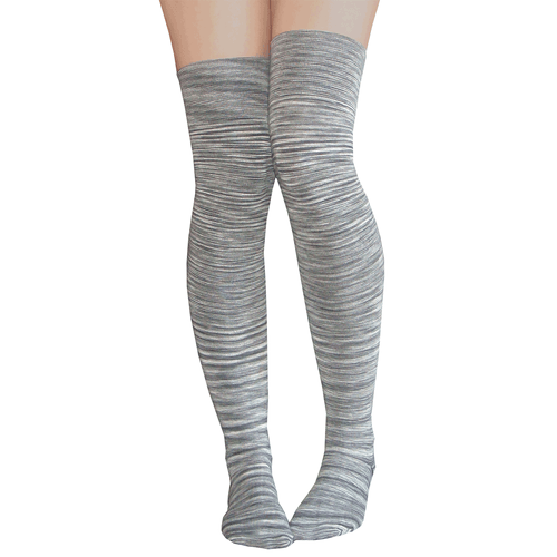 Chrissy's Socks thigh high gray tie dye pair of long knitted footwear