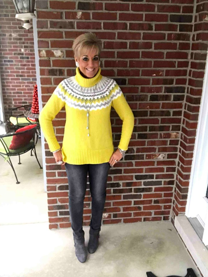 Julie Augustyn of Fashion, Trends and Friends in yellow Fair Isle sweater, jeans, booties, pendant necklace