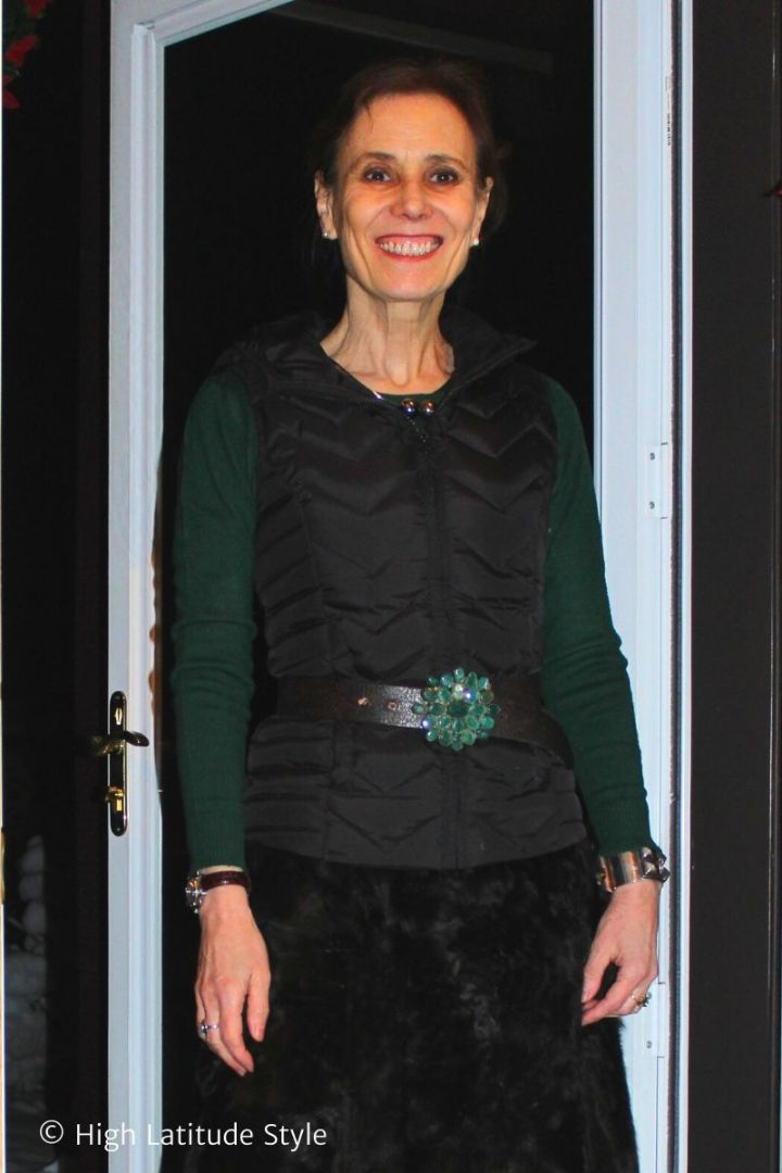 Nicole of High Latitude Style in green and black outfit with different texture