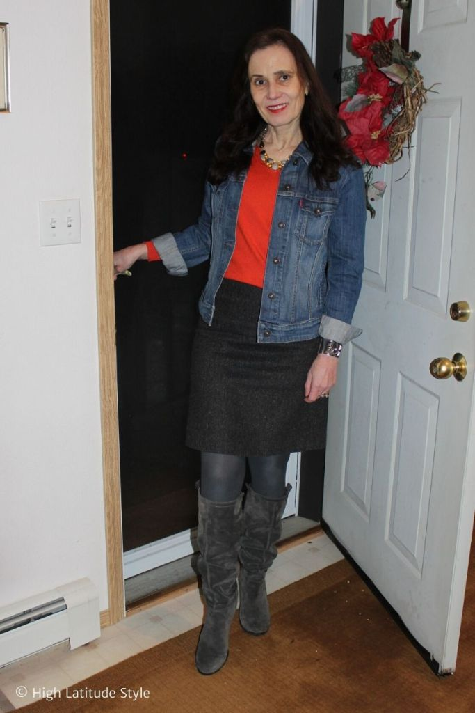 midlife woman in gray, orange, denim Casual Friday look with jacket, straight skirt and top