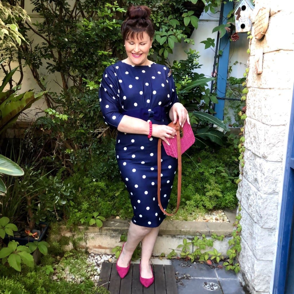 Top of the World OOTD My Fav Donna in navy blue white polka dot dress, pink bag, shoes bracelet
