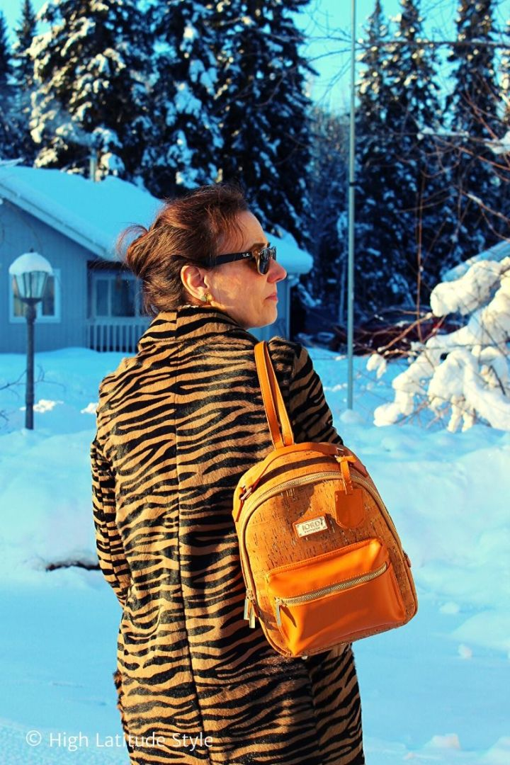 fashion blogger carrying a JORD vegan suberhide bag