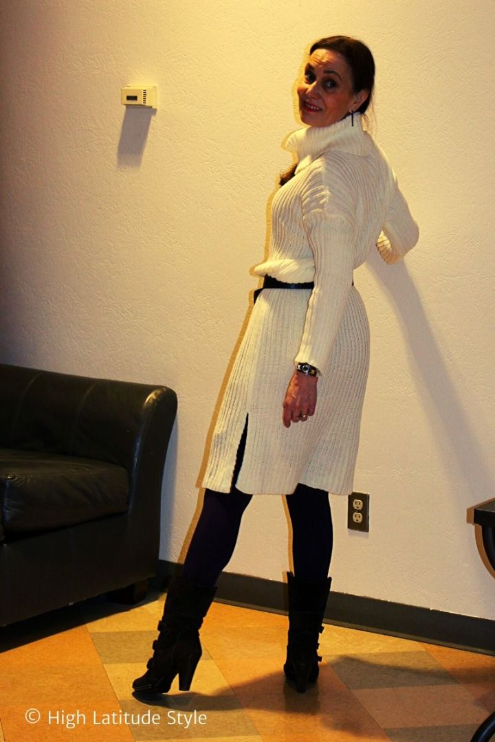 Nicole of High Latitude Style in jumper with tights, belt, boots