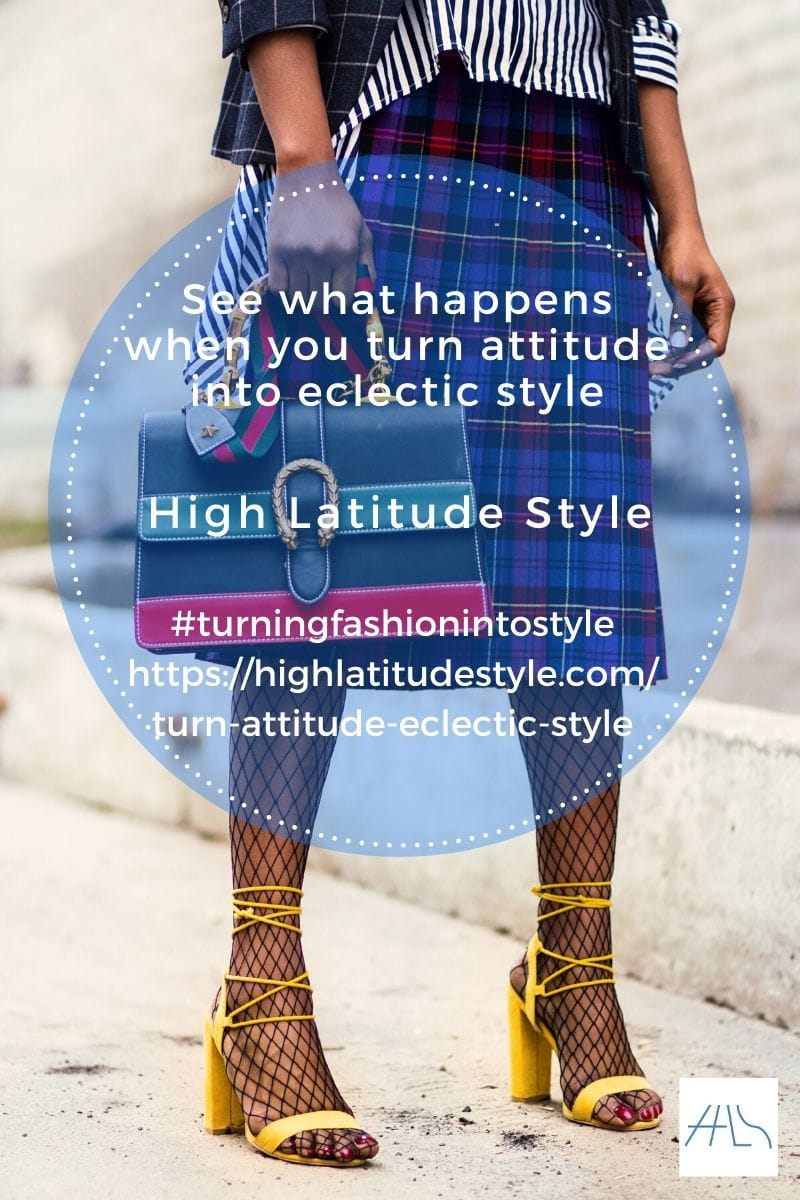 post logo on eclectic style showing a tartan skirt, fishnets, striped shirt and bags, window panel blazer, yellow sandals