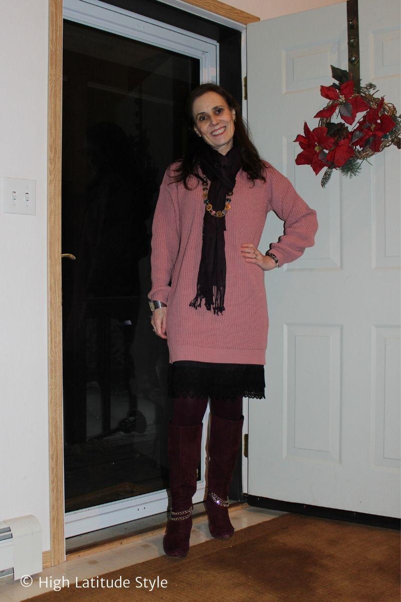 fashion blogger wearing a mini dress over a sheath