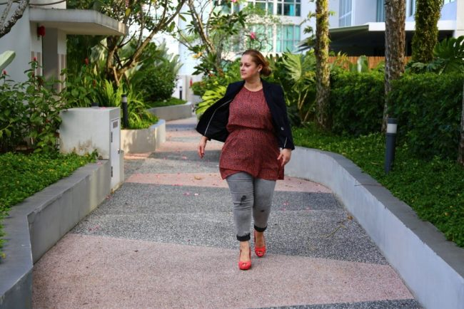 Top of the World OOTD Readers' Fav Anna Shirley in gray denim pants, black blazer, red shoes and red animal print top