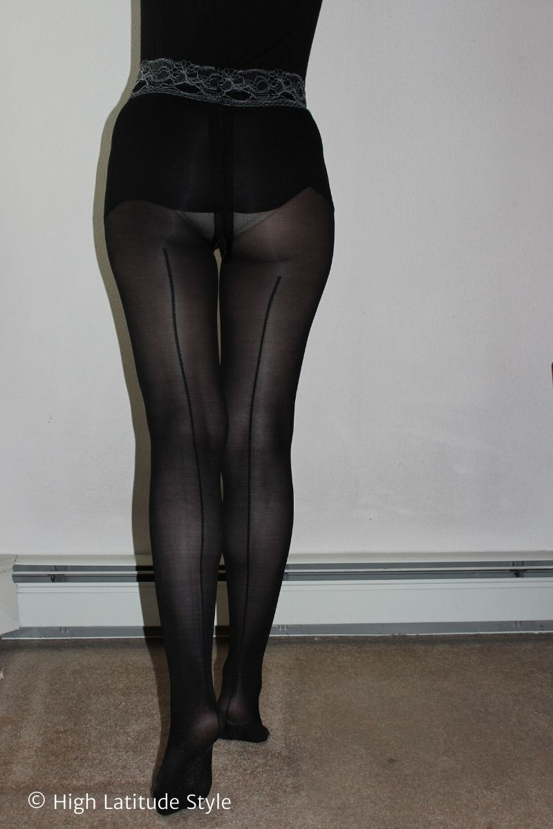 mature woman doing Sheertex pantyhose with back seam