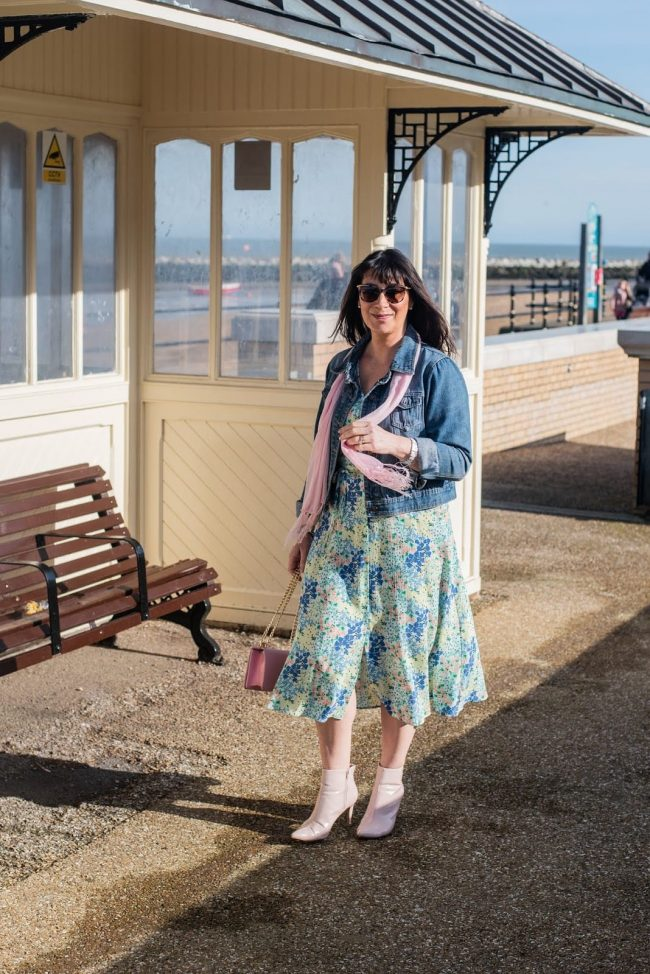 Top of the World OOTD My Fav Jacqui in floral summer dress, jeans jacket, white booties, pink scarf and bag