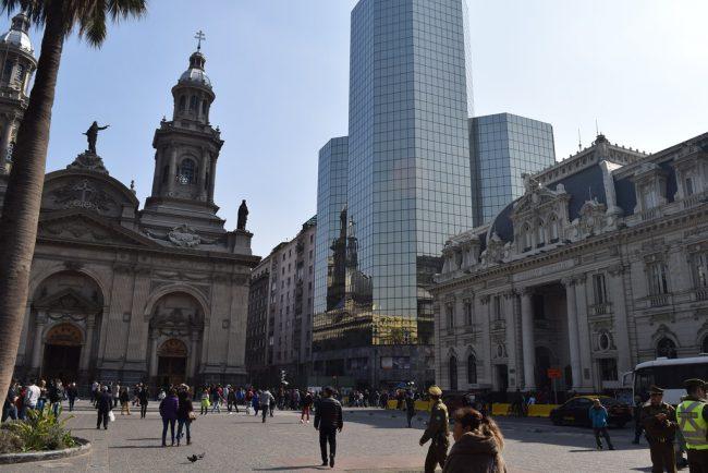 Santiago de Chile church market place and skyscraper by Pepe Church