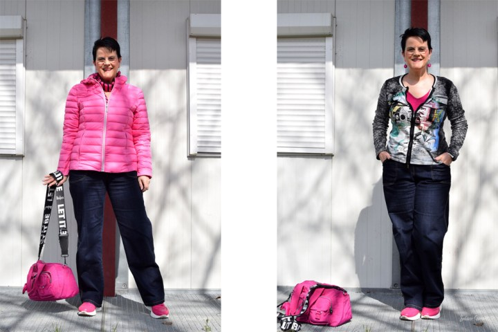 Sabine Gimm in pink sneakers, ski jacket, tank top, abstract print track zipper jacket with sport bag