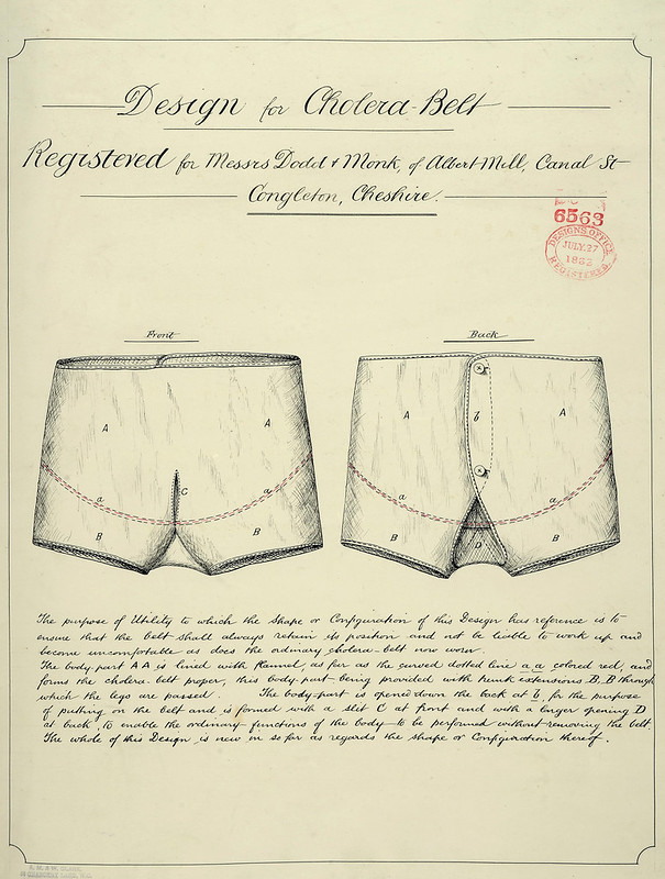 Front and back view of the design of a cholera belt