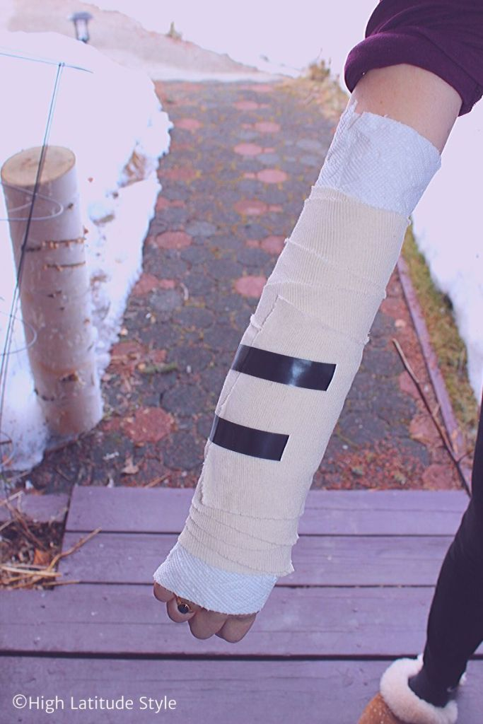 bandaged arm with duct tape