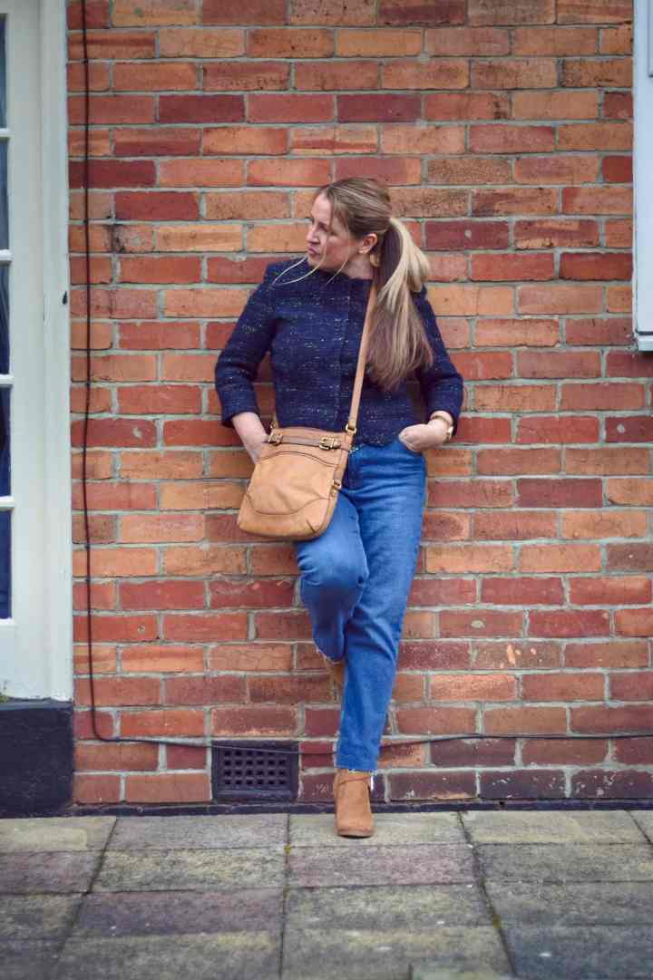 Readers' Fav Alison in blue cable knit sweater, jeans, desert boots and shoulder bag