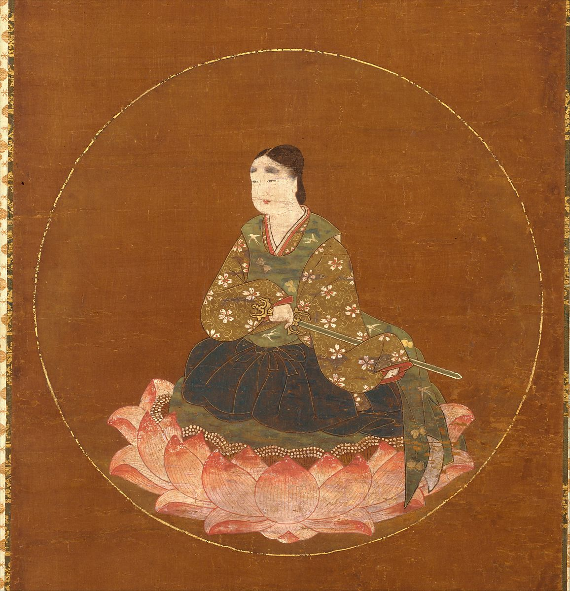 Mandala of Wakamiya of Kasuga Shrine showing man sitting on pink and white lotus blossoms in traditional Japanese attire