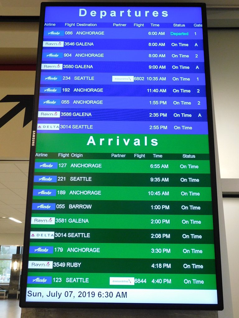 Fairbanks International Airport Departure-Arrival Board by jimmywayne CC BY-NC-ND 2.0