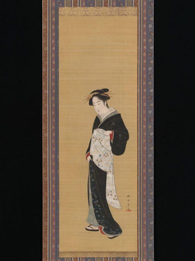 Painting of a woman in a black kimono with white obi by Katsukawa Shunshō