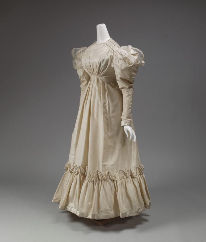 British white dress with puff sleeves, elevated waist 1826-29