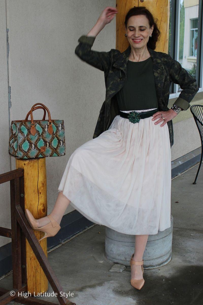 style book author posing in mesh skirt , Tee, heels, utility jacket