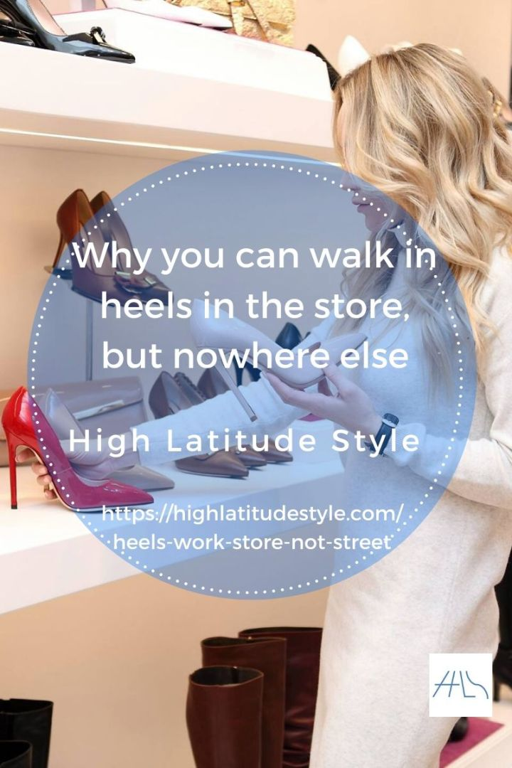 woman looking at high pumps in store