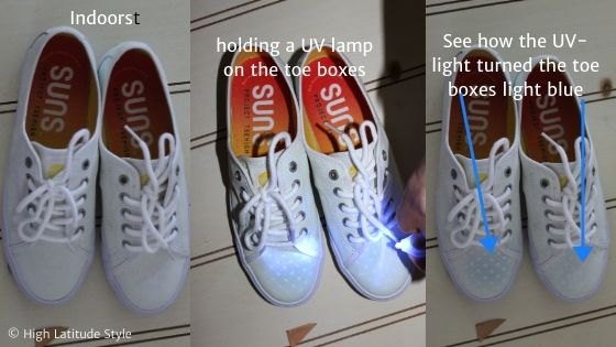 SUNS shoes shown indoors, holding UV light on them, and color change ins response