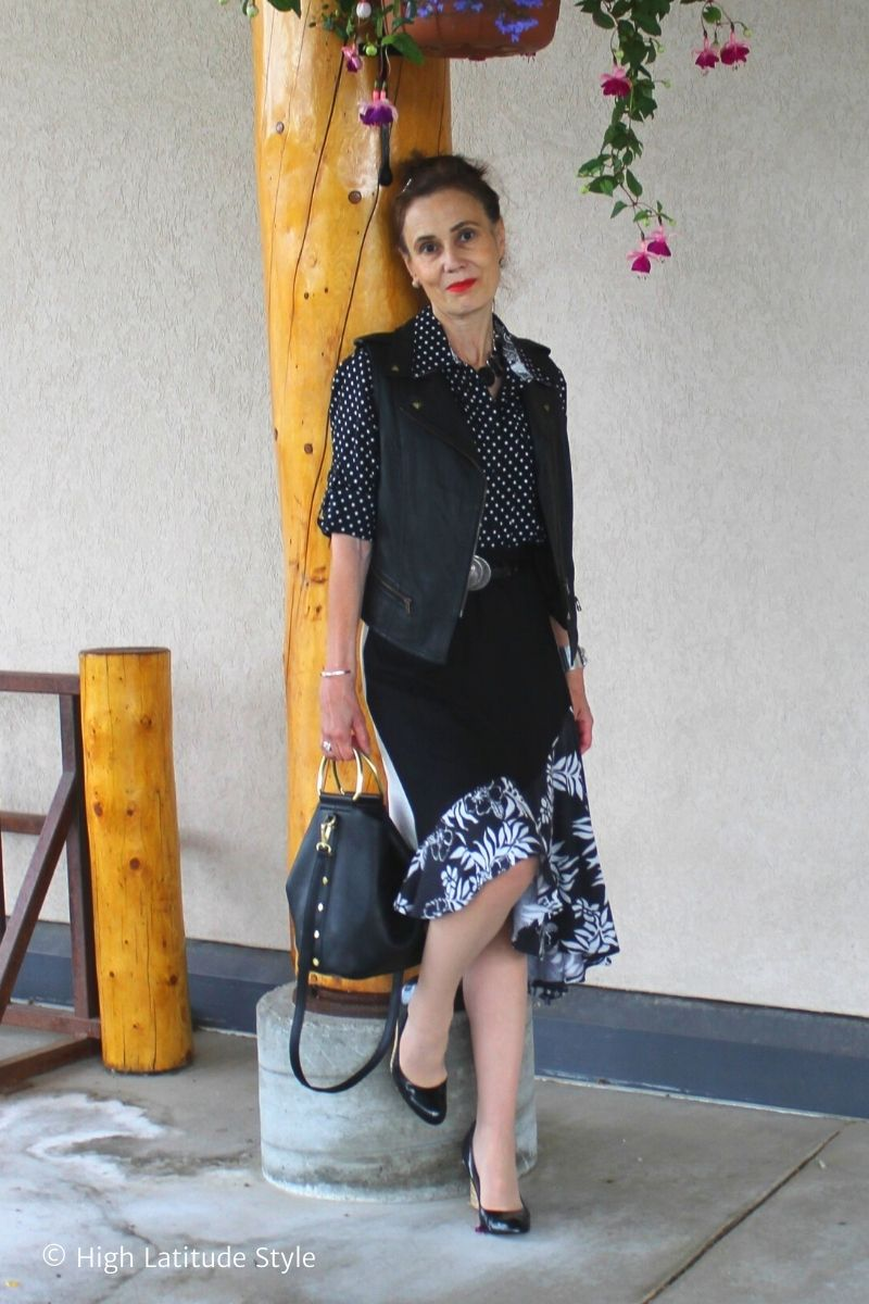 over 50 years old blogger in s self made skirt