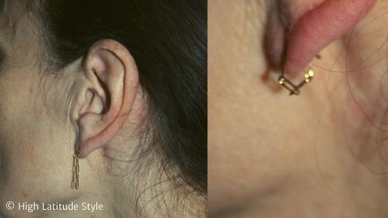 over 50 years old blogger wearing a chain as earring and then looped thru the lobe