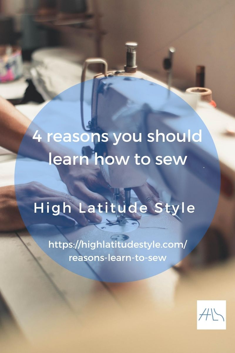 post banner for reasons to learn sewing featuring a sewing machine