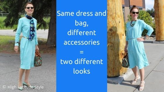 one dress and bag tow different looks
