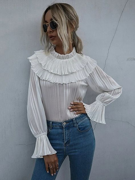 pleated romantic ruffle blouse