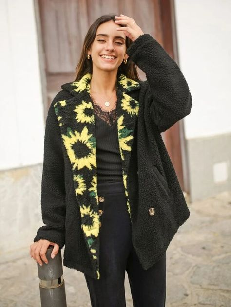 teddy coat with sunflower print collar