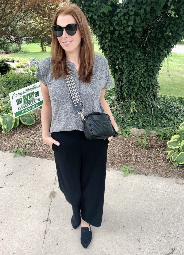 Top of the World OOTD Readers Fav Jaymie Ashcraft in black pants, grey shirt