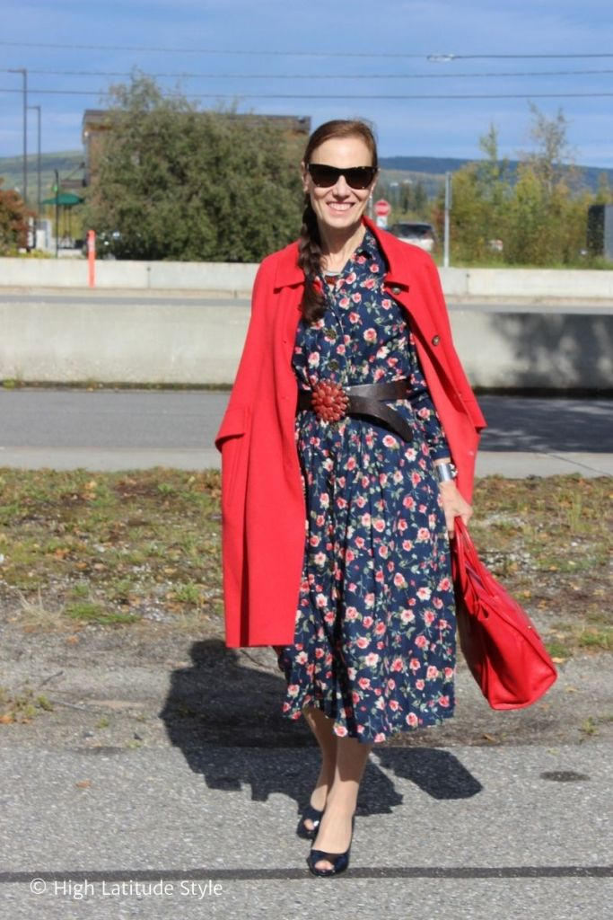 style book author in DIY dress, belt, cape, pumps