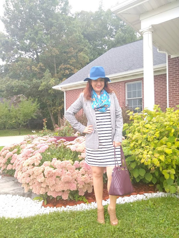 My fav Ada from Elegance and Mommyhood in striped dress, royal blue hat, floral scarf, nude fall sandals