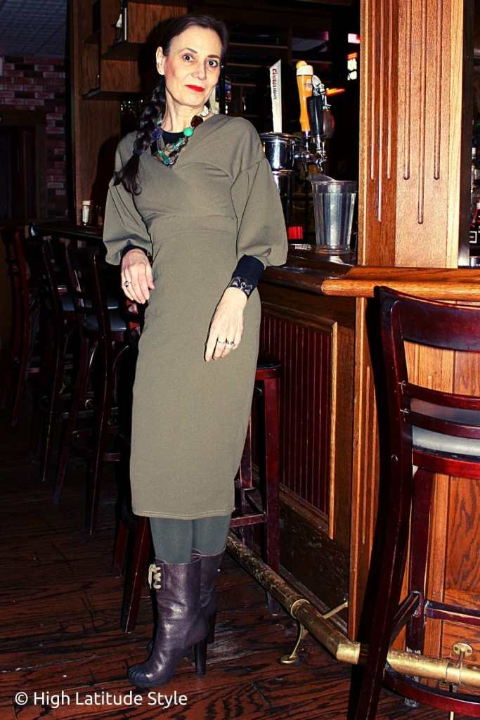 fashion influencer in trendy olive attire with puff sleeves