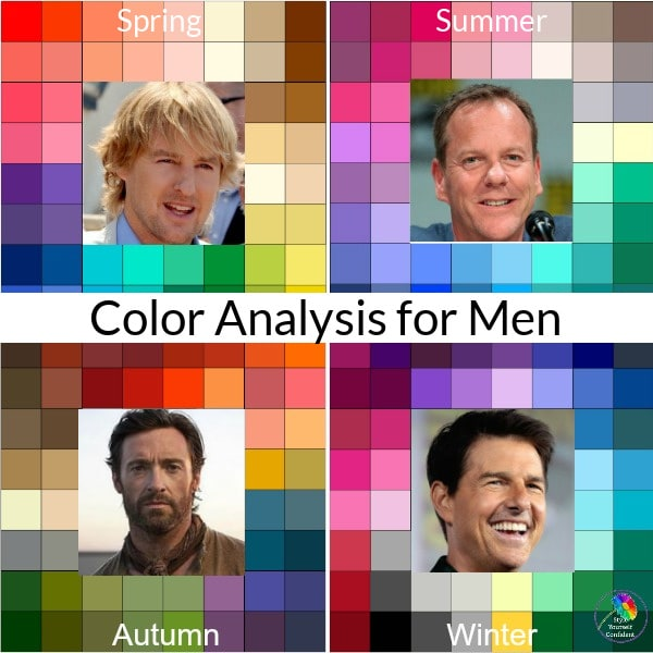 color analysis for 4 men featuring the spring, summer, fall and winter type