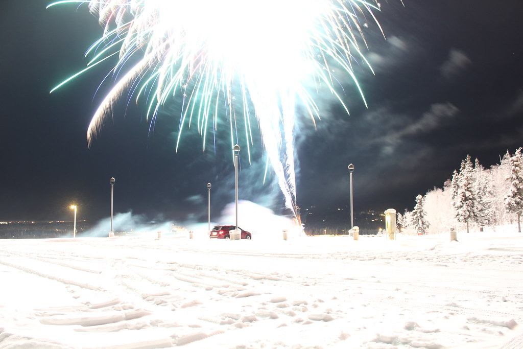 NYE fireworks on the West Ridge of the UAF campus in Fairbanks, AK