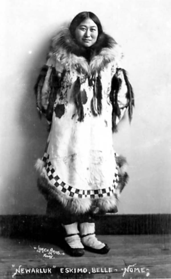 Eskimo woman named Newarluk, Nome, Alaska, between 1905 and 1910 by Lomen Brothers UW via wiki commons